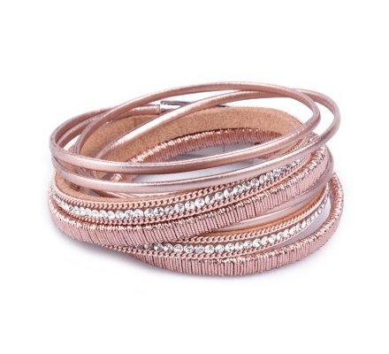 Bracelet multirangs LOL lignée de strass rose cuivré