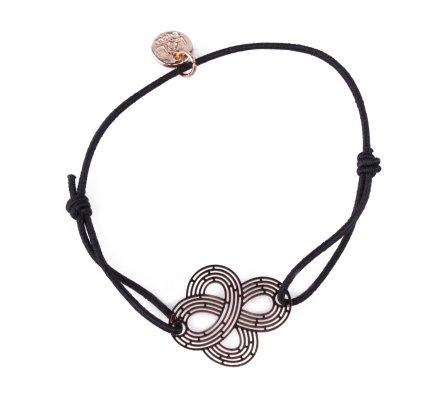 Bracelet LOL élastique noir noeud filigrane doré