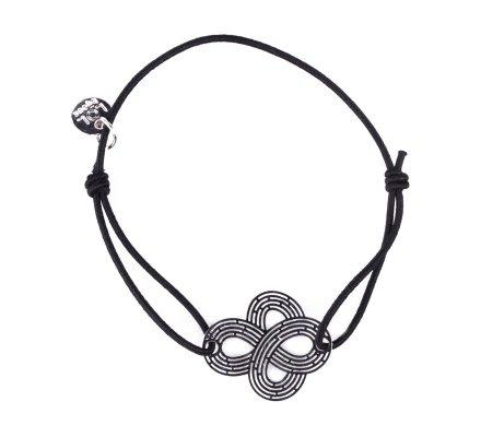 Bracelet LOL élastique noir noeud filigrane argent