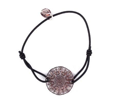 Bracelet LOL élastique noir soleil rosace filigrane cuivré