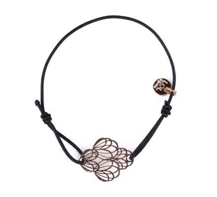 Bracelet LOL élastique noir pivoines filigrane doré