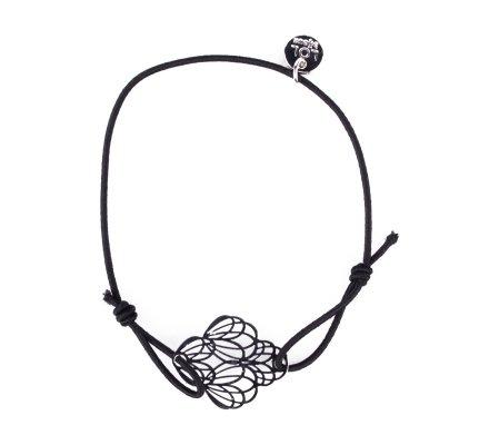 Bracelet LOL élastique noir pivoines filigrane argent