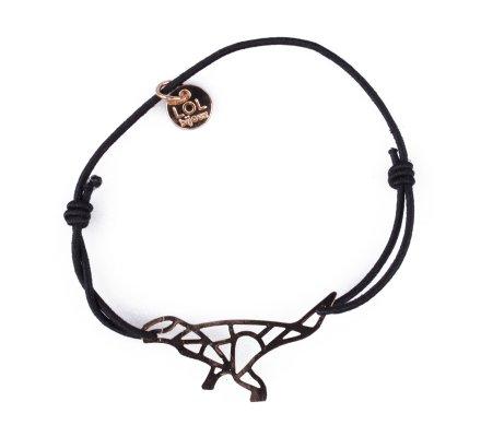 Bracelet LOL élastique noir dinosaure graphique doré
