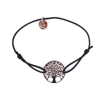 Bracelet LOL élastique noir arbre de vie filigrane doré