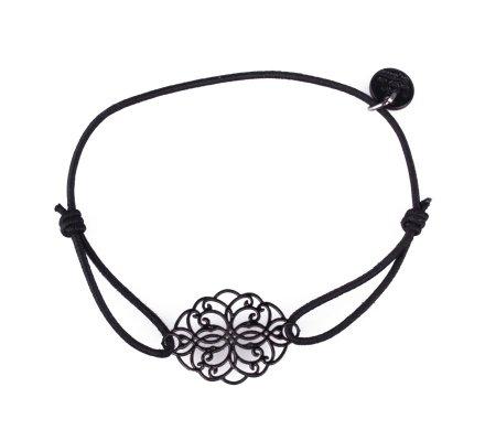 Bracelet LOL élastique noir rosace allongée filigrane