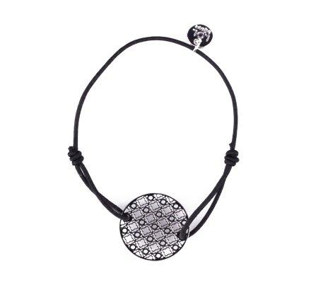 Bracelet LOL élastique noir rosace quadrillée filigrane argent