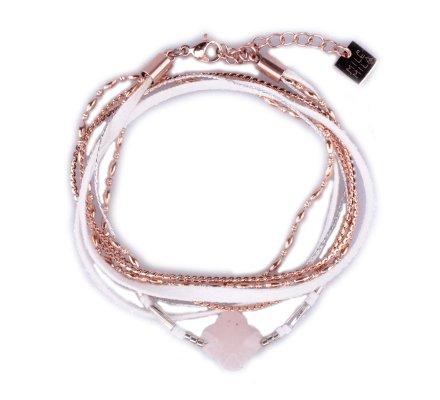 Bracelet acier MILE MILA double tour blanc et cuivré perle trèfle rose