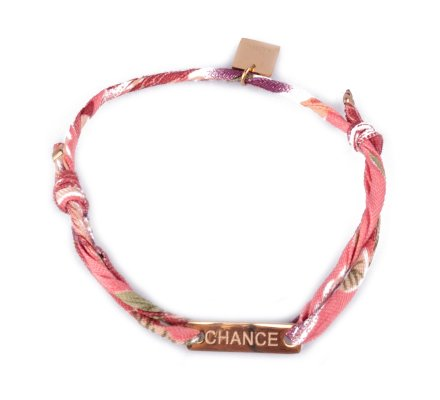 Bracelet réglable MILE MILA «Chance» acier doré tissu corail vert mauve