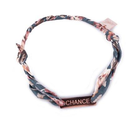 Bracelet réglable MILE MILA «Chance» acier cuivré tissu vert rose beige