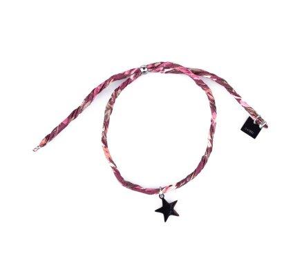 Bracelet réglable MILE MILA Etoile acier argent tissu prune kaki rose