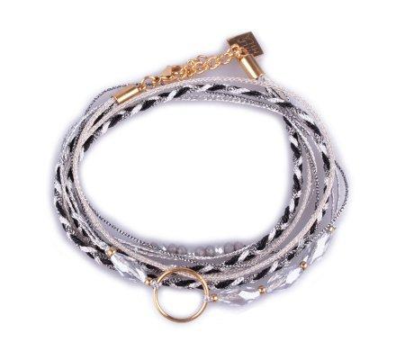 Bracelet multirangs MILE MILA tresse noire et grise tissu argenté anneau acier doré