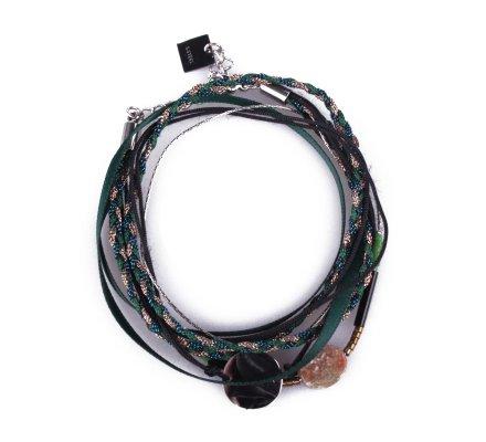 Bracelet multirangs MILE MILA tresse verte tissu pierre et médaillon acier argent