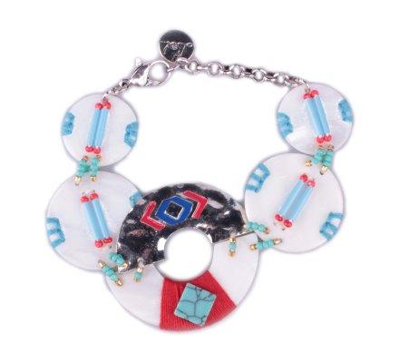 Bracelet LOL médaillons de nacre à perles bleues et rouges