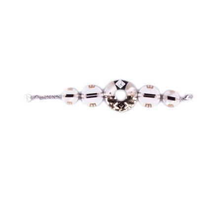 Bracelet LOL médaillons de nacre à perles dorées et noires