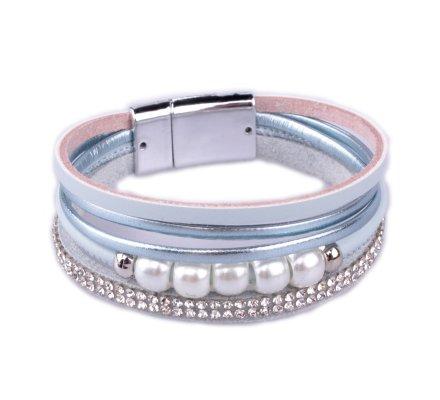 Bracelet bleu bande de strass et perles blanches