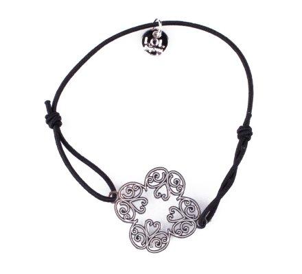 Bracelet LOL élastique noir Trèfle à arabesques filigrane argent