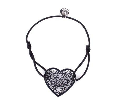 Bracelet LOL élastique noir Coeur étoilé filigrane argent