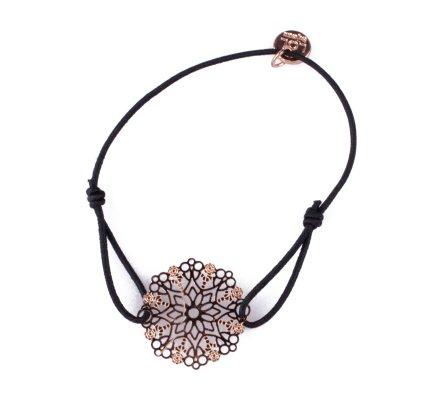 Bracelet LOL élastique noir Flocon étoilé filigrane doré