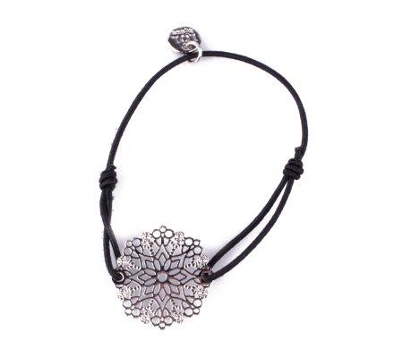 Bracelet LOL élastique noir Flocon étoilé filigrane argent