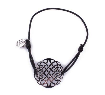Bracelet LOL élastique noir Rosace infini filigrane argent