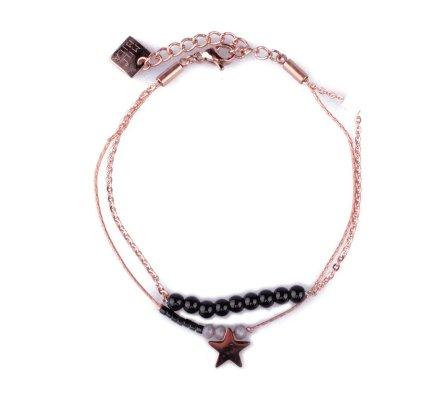 Bracelet MILE MILA acier cuivré étoile et perles noires