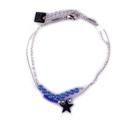 Bracelet MILE MILA acier argent étoile et perles bleues