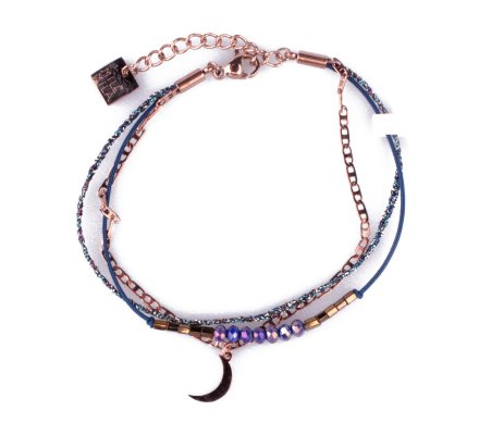 Bracelet MILE MILA acier cuivré lune et perles bleues