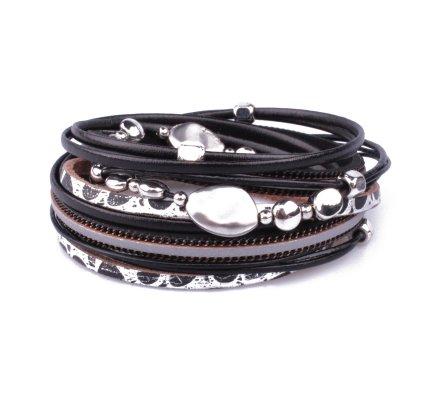 Bracelet aimanté double tour noir argent perles galets