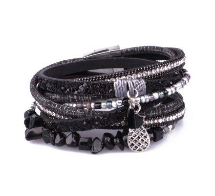 Bracelet aimanté double tour noir pailleté strass et ananas