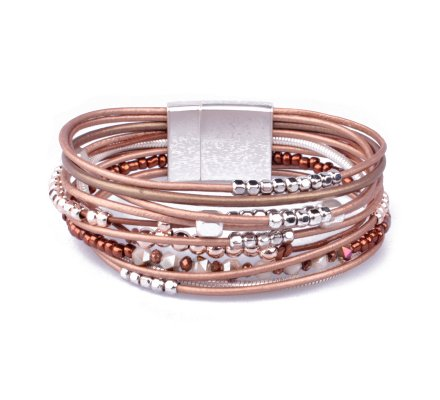 Bracelet aimanté marron perles à billes argent et cuivrées