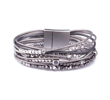 Bracelet aimanté gris perles à billes argent et grises