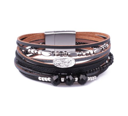 Bracelet aimanté noir perles argent et noires pastille empreinte