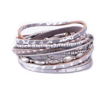 Bracelet aimanté double tour gris et argent motif python et perles