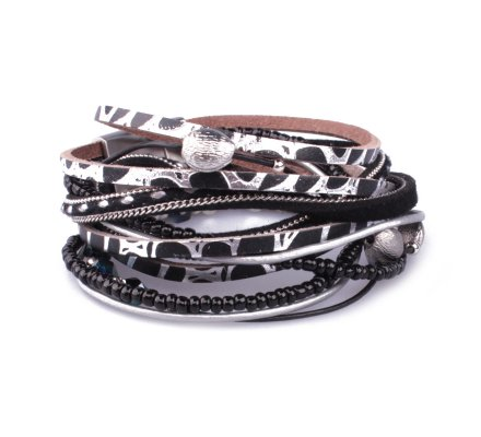 Bracelet aimanté double tour noir et argent motif python et perles