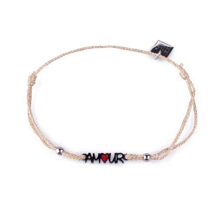 Bracelet fin réglable MILE MILA Amour acier argent et tissu doré