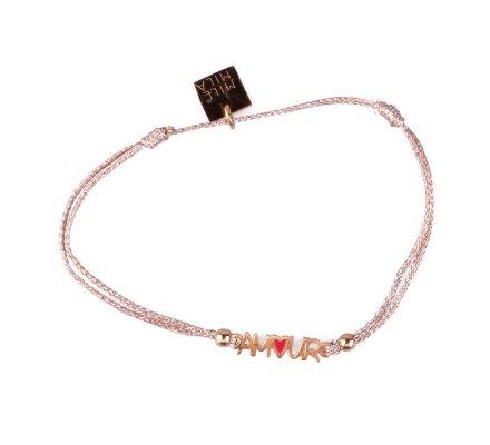 Bracelet fin réglable MILE MILA Amour acier doré et tissu cuivré