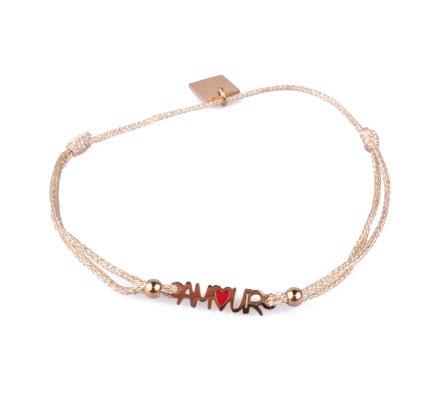 Bracelet fin réglable MILE MILA Amour acier doré et tissu doré