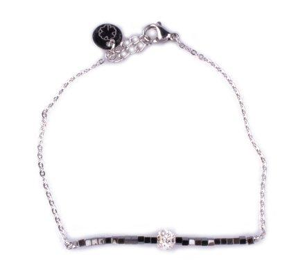 Bracelet fin acier argent perles grises et boule blanche strass