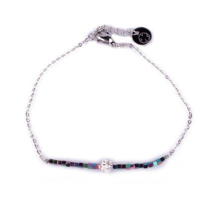 Bracelet fin acier argent perles multicolores et boule blanche strass