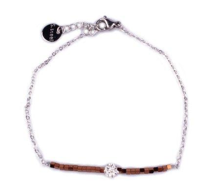 Bracelet fin acier argent perles cuivrées et boule blanche strass