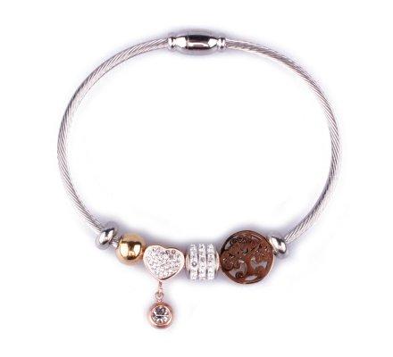 Bracelet acier argent perles arbre de vie doré cœur cuivré et boule de strass sur jonc