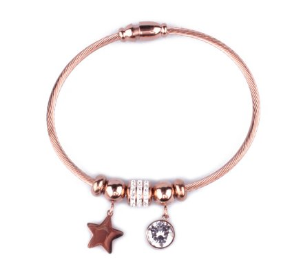 Bracelet acier cuivré perles étoile boule de strass