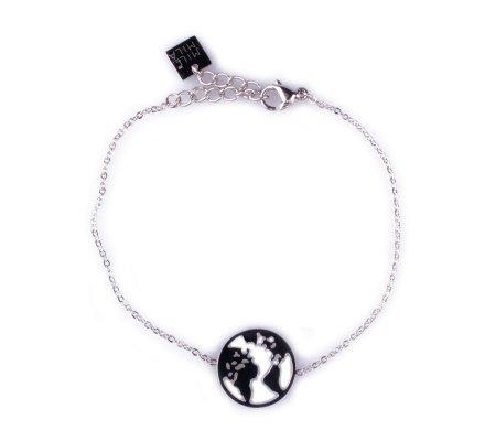 Bracelet MILE MILA Globe terrestre acier argent