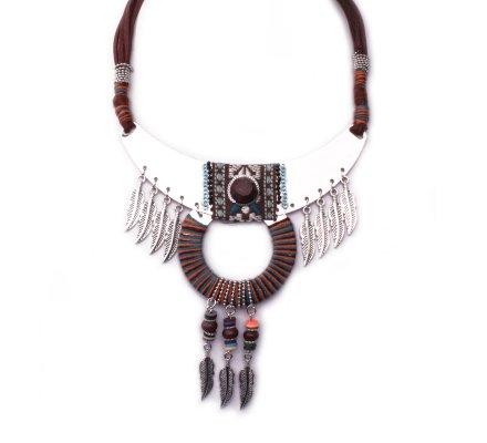 Collier Lolilota Plastron Banano à plumes argent marron femme
