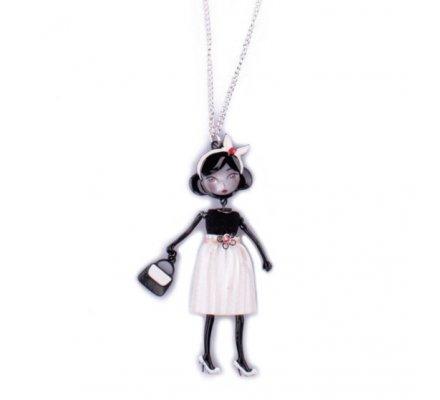 Sautoir Lolilota Poupée bandana blanc robe blanche et noire