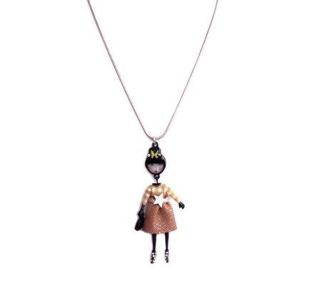 Collier Lolilota poupée chignon papillon robe à carreaux camel