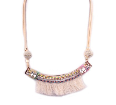 Collier Lolilota Arc perles et strass franges beiges