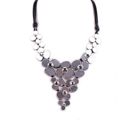 Collier Plastron de fleurs argent strass gris