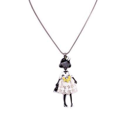 Collier poupée Lolilota papillon jaune et robe à pois