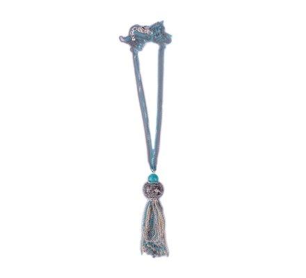 Sautoir Lolilota Boule de strass perle turquoise et chaînettes bleues grises et dorées